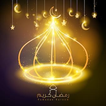 Светящаяся линия купол мечеть золотой цвет рамадан карим