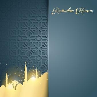 Исламская светящаяся мечеть на фоне арабского узора