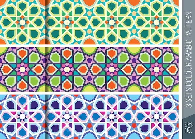 Три набора геометрических орнаментов арабского орнамента