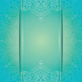 花柄ラウンドパターン飾りの美しい招待状カードのテンプレート