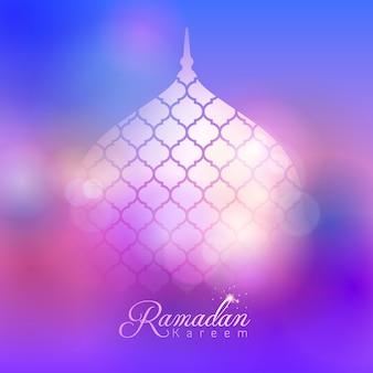 イスラムのバナーデザインの背景モスクドームラマダンカリーム