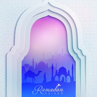Исламский дизайн фона мечети двери рамадан карим