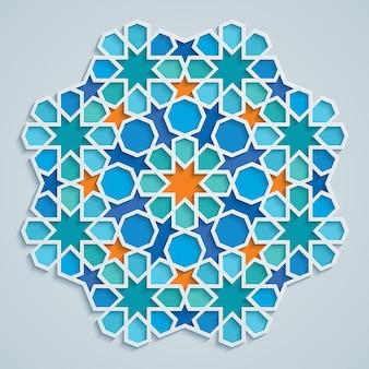 ラウンドアラビア幾何学模様のカラフルなモザイク