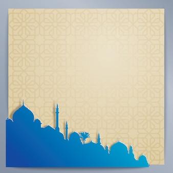 イスラムデザインの背景アラビア模様とシルエットのモスク