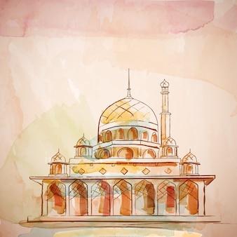 イスラムの背景デザインモスクベクトル水彩画効果