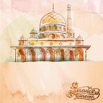 ベクトル水彩ブラシモスクイスラムデザインの背景ラマダンカリーム