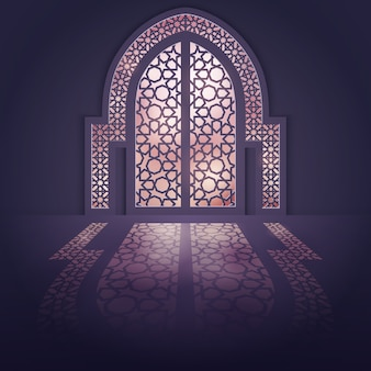 イスラムデザインの背景モスクのドアの背景