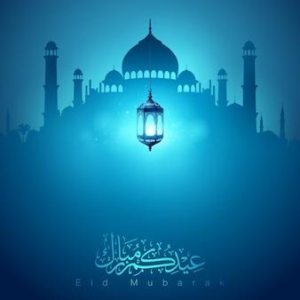 イードムバラクイスラム挨拶バナーデザインの背景