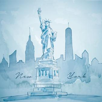 ニューヨーク市建物のシルエットと自由の女神像