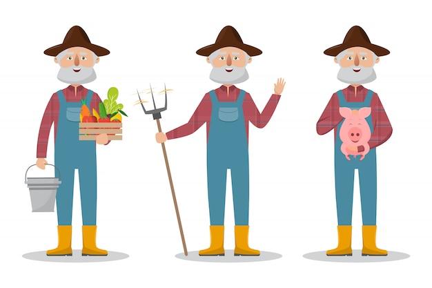 有機農村農場で幸せな農家家族の漫画のキャラクター