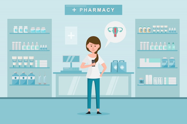 女性と一緒の薬局は薬局で薬を買います。