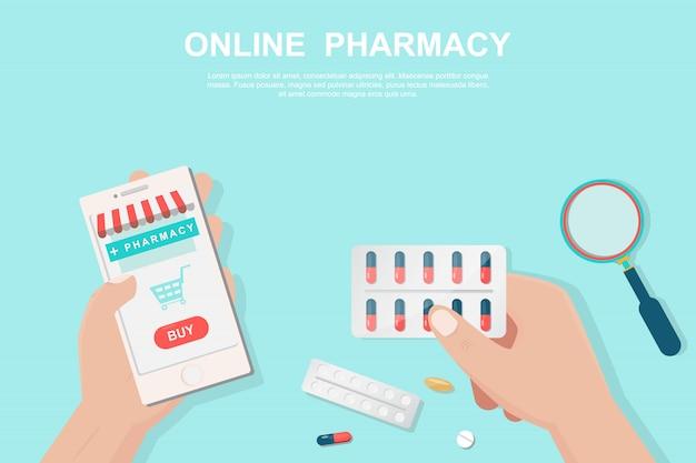 Интернет-аптека концепция в плоском стиле.