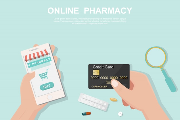 フラットスタイルのオンライン薬局の概念。