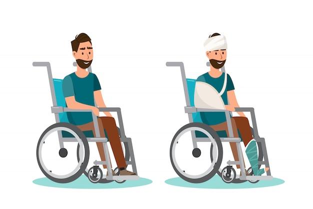 男は白い背景を持つ車椅子に座る