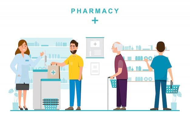薬剤師と窓口のクライアントによる薬局