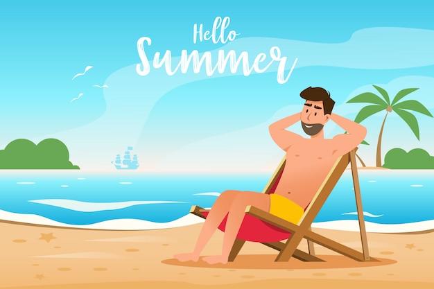 夏のコンセプトです。男は美しいビーチでサンラウンジャーにあります。