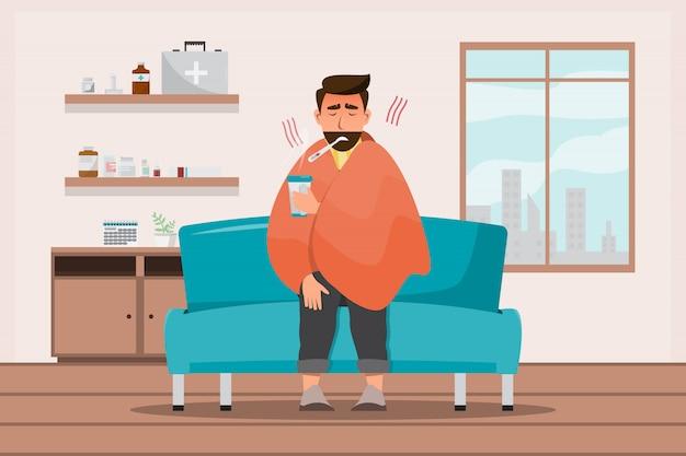 風邪をひいた病人が部屋に座る