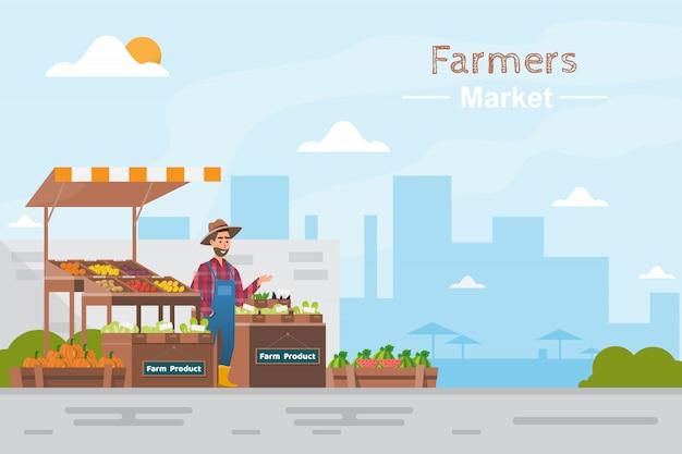 ファームショップ地方市場。果物や野菜を売る