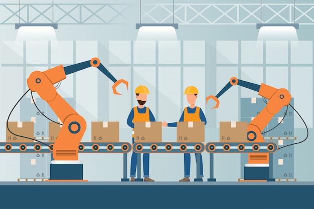労働者、ロボット、組立ラインの梱包があるフラットスタイルのスマート産業工場
