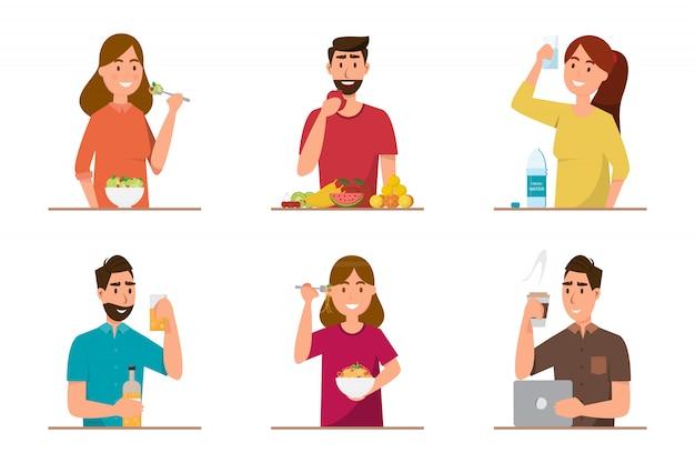 健康食品とファーストフードを別のキャラクターで食べる人