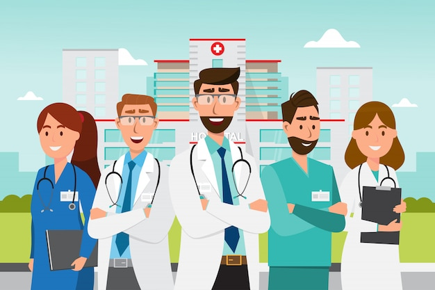 Набор персонажей мультфильма доктор. концепция команды медицинского персонала перед больницей