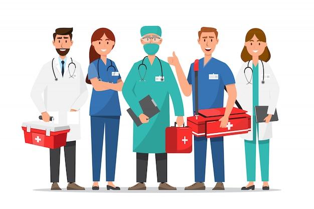 Набор персонажей мультфильма доктор. концепция команды медицинского персонала в больнице