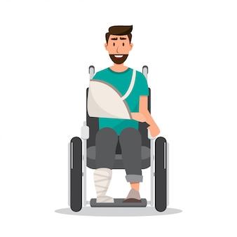 笑顔の男が車椅子に包帯を着て怪我をして
