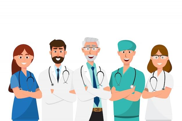 医師の漫画のキャラクター、病院の医療スタッフチームコンセプトのセット