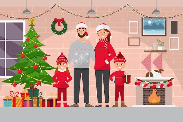 カップルと部屋のインテリアで家族のクリスマスのお祝い