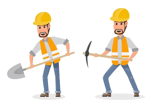 異なるキャラクターの建設労働者