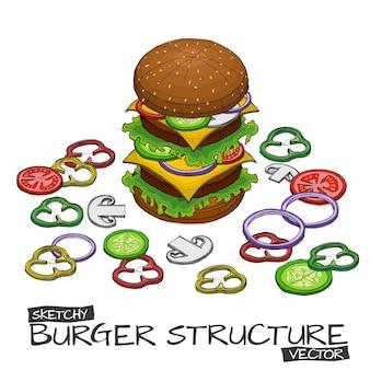 ハンバーガーとコンポーネントの色とベクトルハンドスケッチ