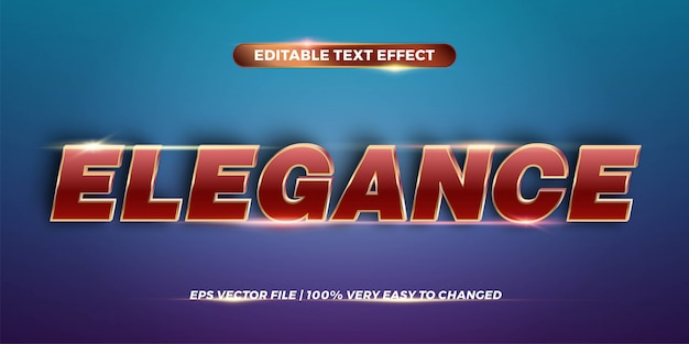 エレガンス単語テキスト効果テーマ編集可能な金属赤金色の概念でテキスト効果