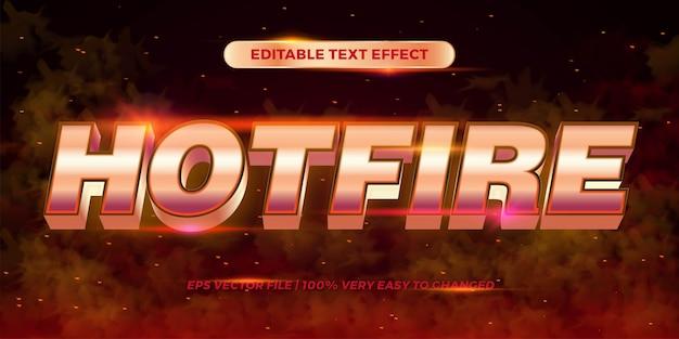 Редактируемый текстовый эффект - горячий огонь слова стиль текста металл красный золотой цвет концепция дым