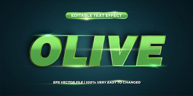 Редактируемый текстовый эффект - концепция стиля оливкового текста