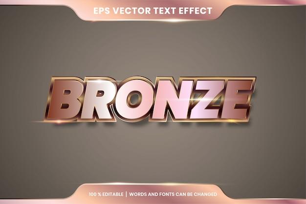 Премиум бронзовый текстовый эффект редактируемый