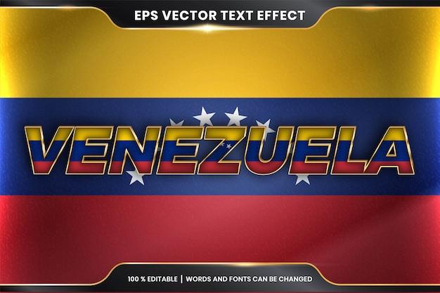 Редактируемый стиль с текстовым эффектом - венесуэла с национальным флагом страны