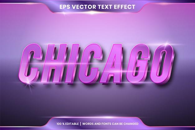 Редактируемый текстовый эффект - чикагский текстовый стиль макета фиолетового цвета