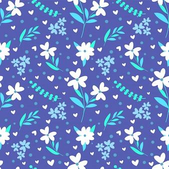 カラフルな手描きの花のシームレスパターンファブリックプリント