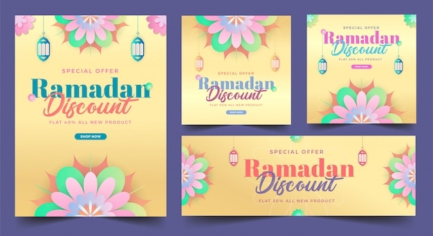Рамадан распродажа скидка баннер с концепцией цветок весны