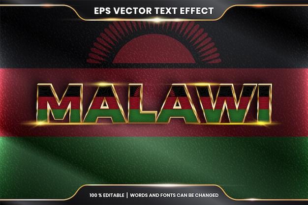 Малави с национальным флагом страны, редактируемый текстовый эффект с концепцией золотого цвета