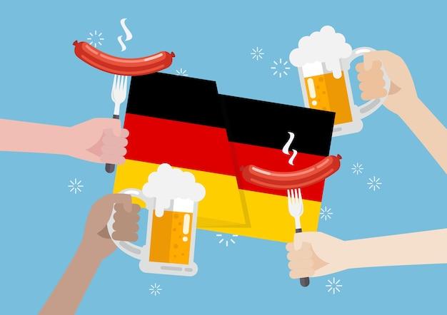 ビールとソーセージのガラスとドイツの旗