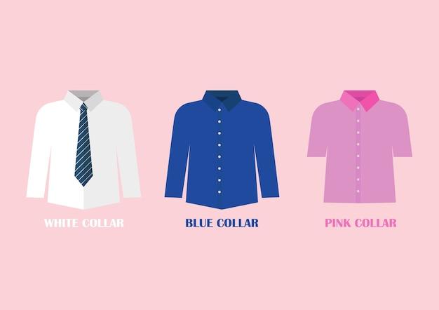 白と青のシャツベクトルイラスト
