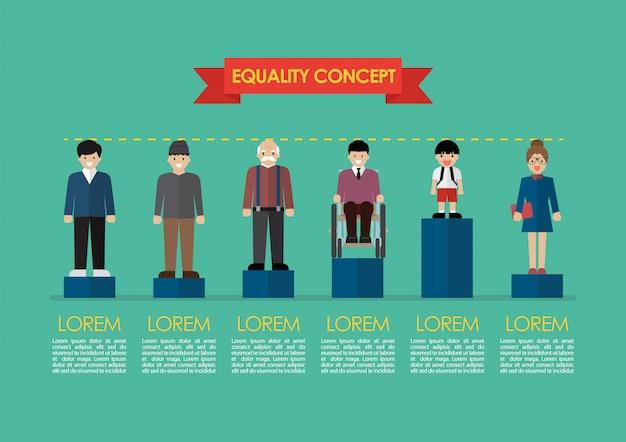 社会問題の平等コンセプトインフォグラフィック