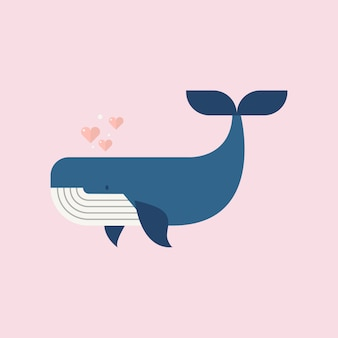 Голубой кит с сердечками