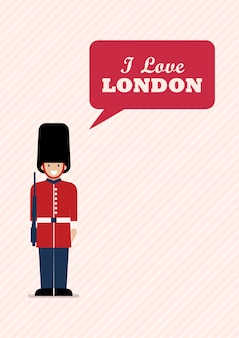 Солдат британской армии со словом я люблю лондон