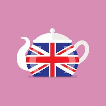 イギリスの旗とセラミックティーポット