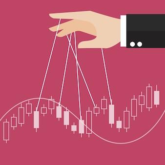 Рука контролирует фондовый график свечи