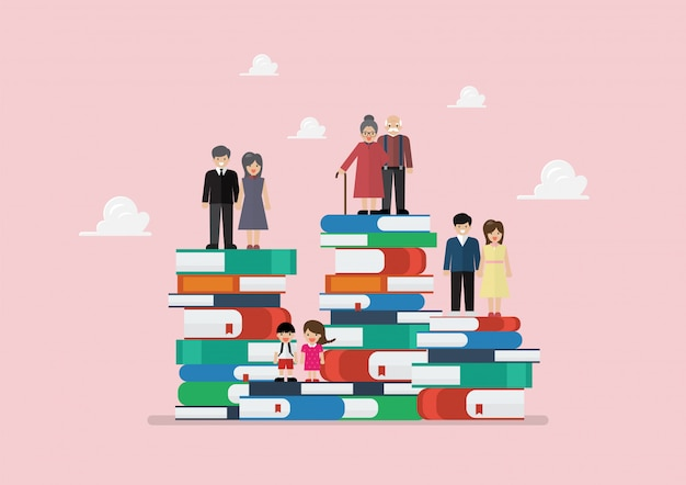 様々な世代の人々がたくさんの本の上に立って