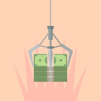 お金を握りしめるロボットの爪