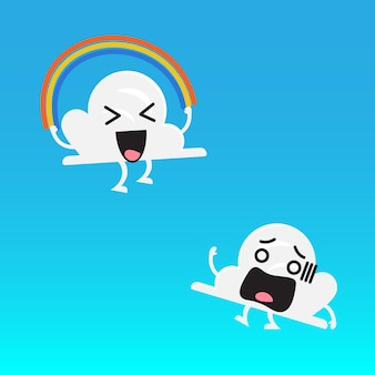 雲のキャラクターと友人ジャンプ虹ロープ
